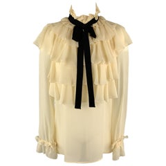 Size 4 GUCCI Cream Silk Ruffled Black Ribbon Long Sleeve Blouse