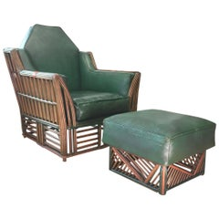 Skyscraper Art Deco Stick Reed Lounge Chair and Ottoman