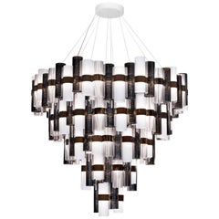 Slamp La Lollona 5-Tier Cascade Chandelier in Pewter & White by Lorenza Bozzoli