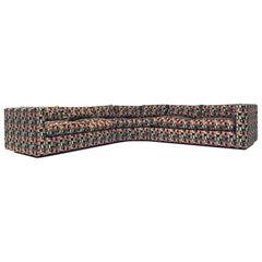 Sleek Milo Baughman Memphis Style Fabric 4-Piece Sectional Sofa