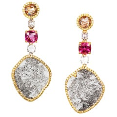 Slice, Rose Cut, Colored Diamonds and Spinel 18 Karat Gold Drop Earrings