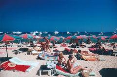 Beach at St. Tropez (Slim Aarons, 20th Century, Sunbathing, Portrait, Nude)