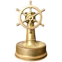 Small Antique Brass Ships Wheel Tabletop Cigar Cutter, circa 1920