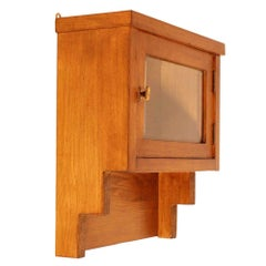 Small Art Deco Wall apothecary or display Cabinet, Bevelled Crystal in oak wood