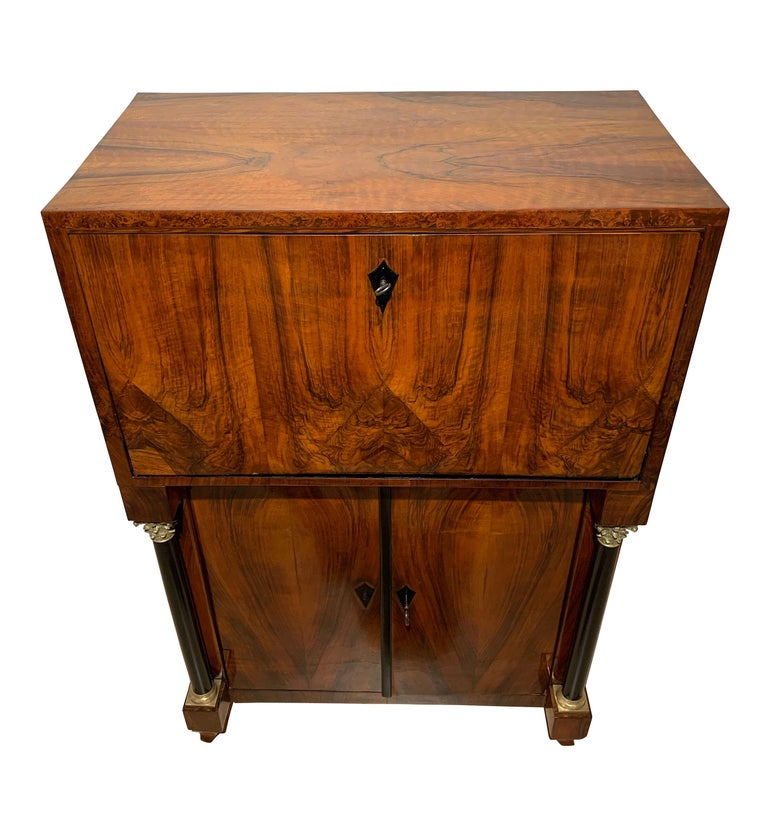 Austrian Small Biedermeier Secretaire, Walnut and Ash, Austria/Vienna, circa 1820 For Sale