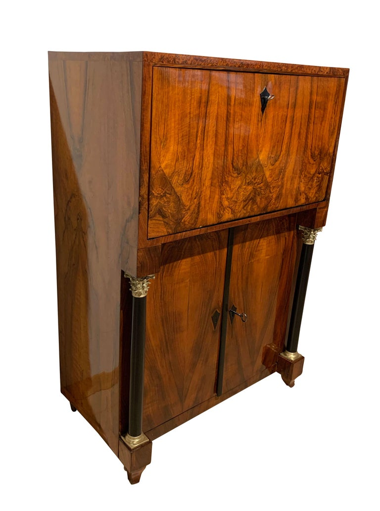 Ebonized Small Biedermeier Secretaire, Walnut and Ash, Austria/Vienna, circa 1820 For Sale