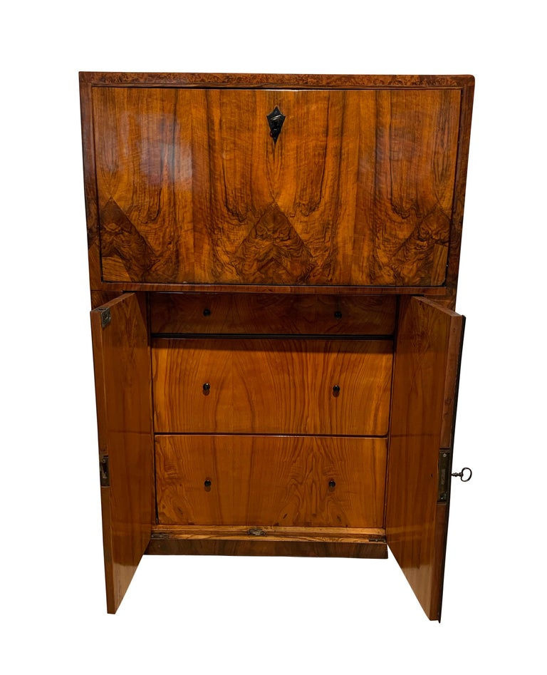 Wood Small Biedermeier Secretaire, Walnut and Ash, Austria/Vienna, circa 1820 For Sale