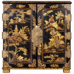 Small English 1890s Black and Gold Chinoiserie Cabinet with 10 Hidden Drawers