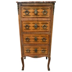 Small Lingerie Chest, Louis XV Style in Diamond Wood Inlay with Marble Top