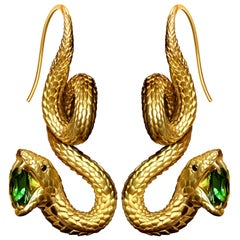 """Snakes"" Earrings 3.5 Carat Intense Green Tsavorite 18 Karat Matte Yellow Gold"