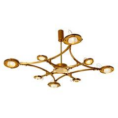 """Solid Brass and Glass Flushmount Chandelier """"Jewel"""""""