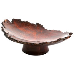 """Solid Bronze """"Mavis"""" Footed Dish with Natural Edge and Red Patina, in Stock"""