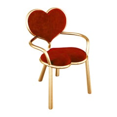 Solid Bronze Sculpture Chair with Red Mohair by Troy Smith