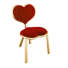 Bronze Chair With Red Mohair Upholstery