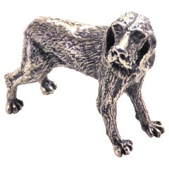 Solid Silver Italian Pointer Bracco Figurine Vintage, 1970s