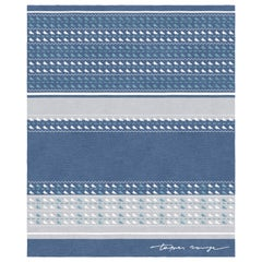 Sonico Blue Notte Hand Knotted Wool and Bamboo Silk