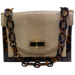 Sophisticated Tory Burch Pearlized Lizard Purse with Faux Tortoise Shell Trim
