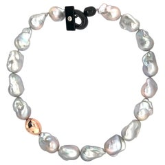 South Sea Grey Baroque Pearl with Pink Gold Necklace