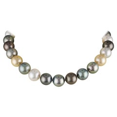 South Sea Multi-Color Round Pearl Choker Necklace With 18KY Diamond Ball Clasp