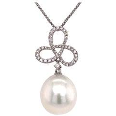 South Sea Pearl Diamond Swiral Pendant 0.36 Carat 18 Karat White Gold