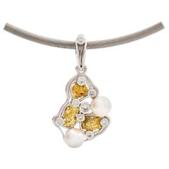 South Sea Pearl Round Diamond Necklace 18 Carat White Gold Natural Gold Nugget