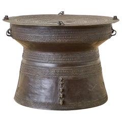 Southeast Asian Bronze Rain Drum Table or Frog Drum