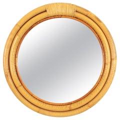 Spanish Bamboo and Wicker Round Mirror, Mid-Century Modern Period