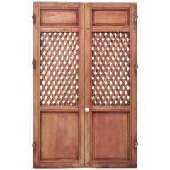 Spanish 19th Century Carved Wood Lattice Rustic Doors