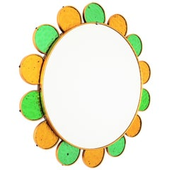 Spanish Modernist Flower Shape Wall Mirror with Green and Golden Glass Petals
