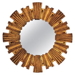 Spanish Modernist Giltwood Sunburst Mirror by Francisco Hurtado, 1950s