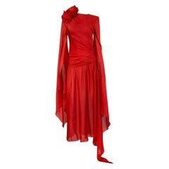 Spectacular 1970s Nina Ricci Haute Couture Draped Angel Wing Red Silk Dress