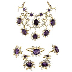 Spectacular Amethyst, Diamond and Pearl Suite in Yellow and White Gold