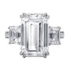 Spectacular GIA 9.38 I-VVS2 Emerald Cut Diamond Ring