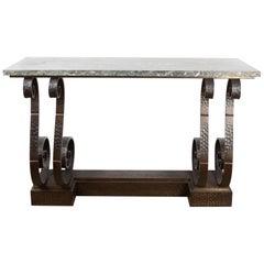 Spectacular Hammered Wroughtiron Art Deco Console Table, att  E. Brandt, France