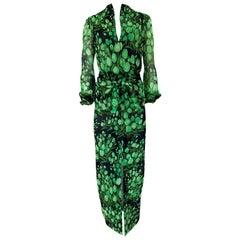 Spring 1972 Pauline Trigere Cotton Silk Voile Green Tulip Print Skirt & Top Set