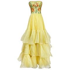 Spring 1977 Jean Louis Scherrer Haute Couture Sequin Silk Dress & Shawl