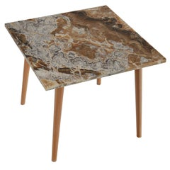 Square Side Table Onyx Top Natural Wood Legs Gold Leaf Art Work Handmade, Italy