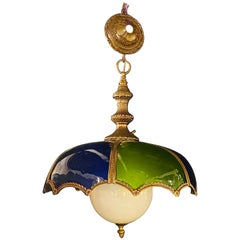 Stained Glass Dome Shaped Bronze Framed MCM Italian Chandelier or Pendant