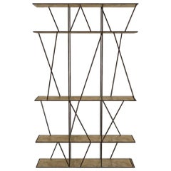 Staiths V2 Patinated Steel and Brass Minimalist Shelving Unit by Novocastrian