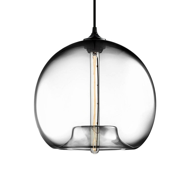 American Stamen Plum Handblown Modern Glass Pendant Light, Made in the USA For Sale
