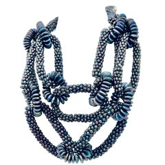 Statement  Pearl Necklace, labor intensive ,Eco -luxe,  by Sylvia Gottwald