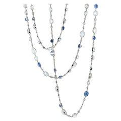 Stephen Russell Moonstone Sapphire and Diamond Platinum Chain