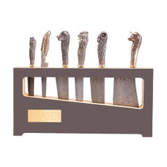 Stephen Webster Beasts Chef's Knives with Folded Steel Blades and Bronze Handles