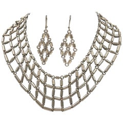 Sterling Silver  Artisan Made 925 Linked Collar and Earring Set