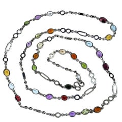 Sterling Silver Chain with Oval Gemstones Necklace