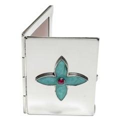 Sterling Silver Guilloché Enamel Cabochon Ruby Mirror Case