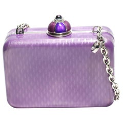 Sterling Silver Guilloché Purple Enamel Diamond Minaudière Limited Edition