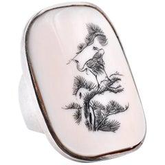 Sterling Silver Vintage Mahjong Ring