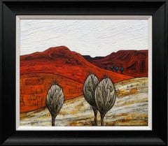 Abstract Red Orange Landscape Painting of English Countryside by British Artist