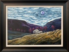 Atmospheric Moonlight Abstract Landscape Painting of England by British Artist